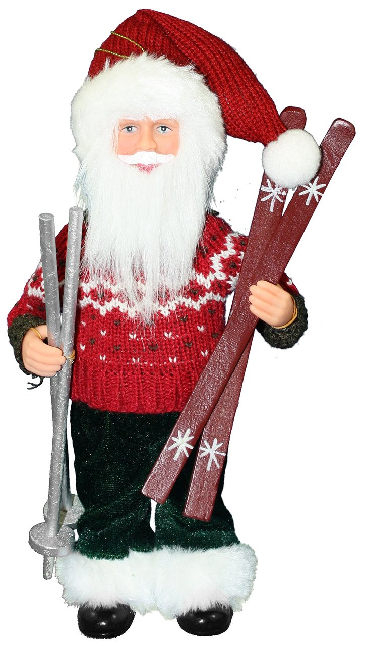 Lets Hit The Slopes Santa Ornament - 9""