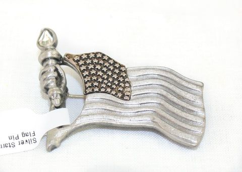 Silver Starred Metal Flag Pin