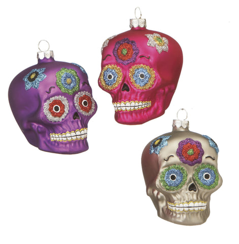 Day of the Dead Sugar Skulls Glass Ornament -