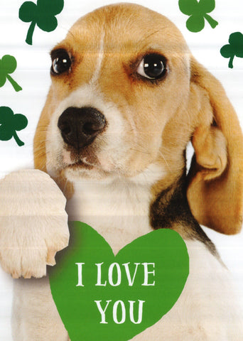 Beagle puppy I Love You St.Patricks Day Greeting Card
