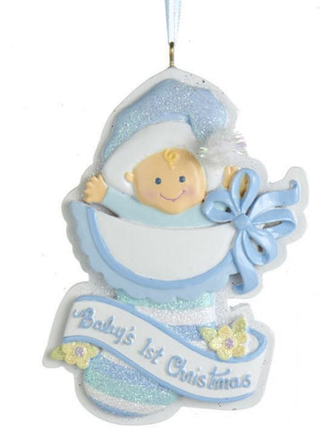 First Christmas Baby in a Stocking Ornament -
