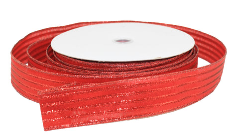 Mettalic Red Stripe Ribbon 1.5 inch -