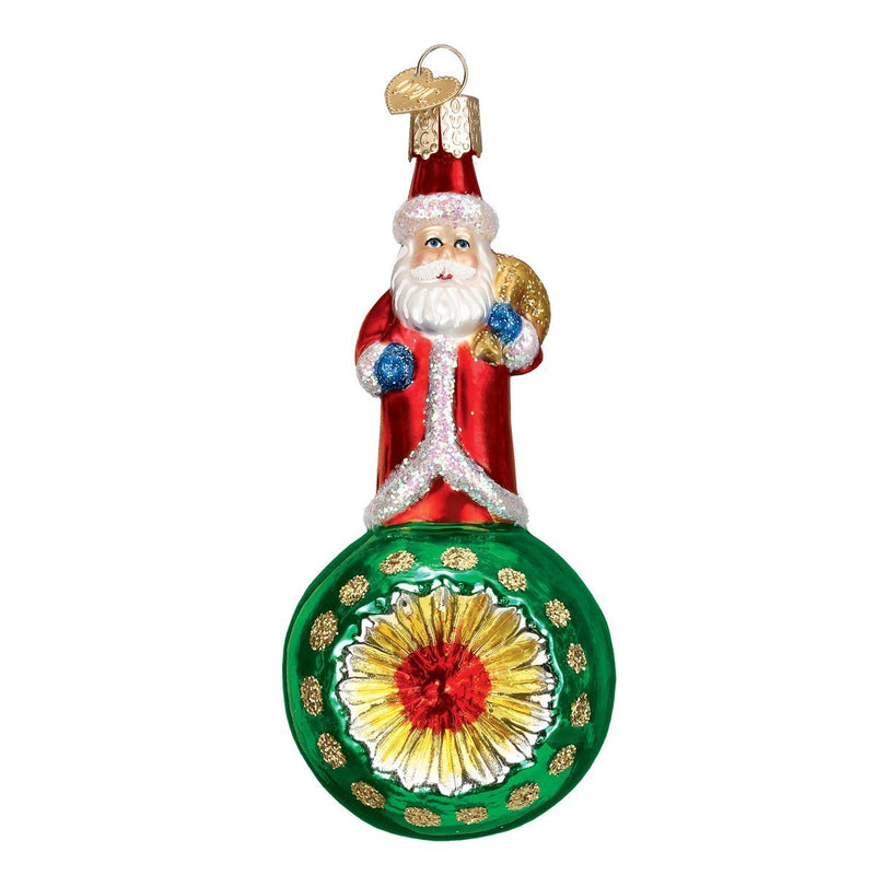 Old World Christmas Santa Reflector Glass Blown Ornament