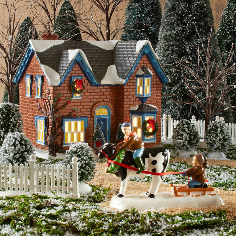 Snow Village Gothic Revival Farm Light House, 6.7 inch