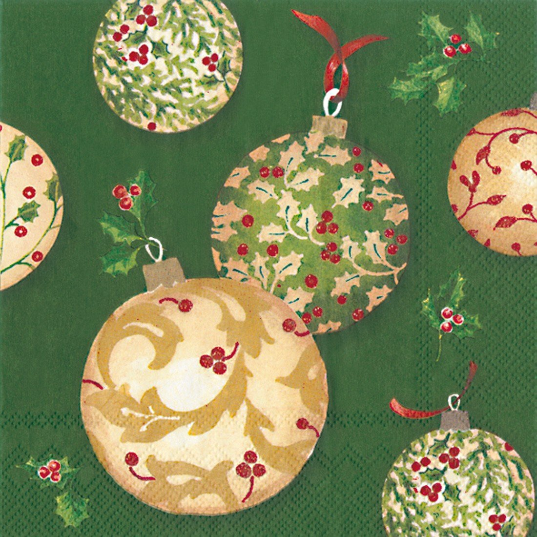 Holly Ornaments Cocktail Napkin- green