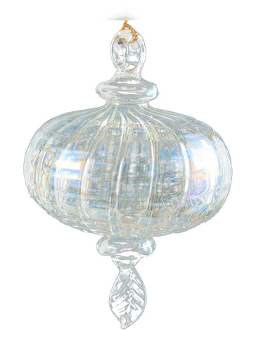 Clear Iris Sphere Glass Ornament