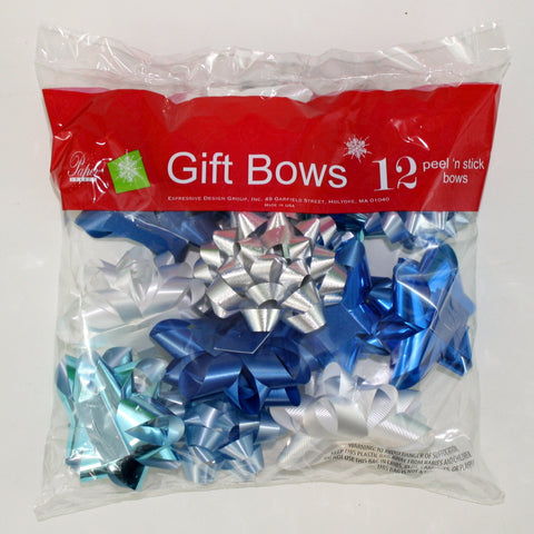 Stick on Bows - 12 Assorted Medium Size -