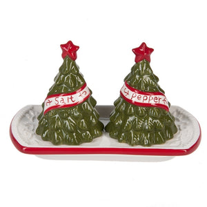 Christmas Tree Salt & Pepper set with Ceramic Tray