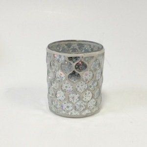 Glass Icicle Mosaic Votive Holder