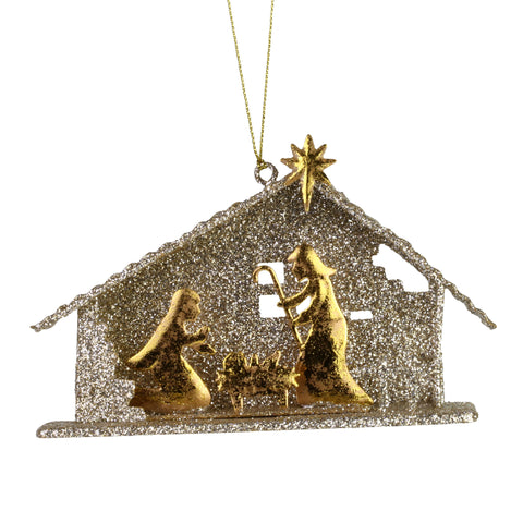 Holy Family Glitter Creche Ornament