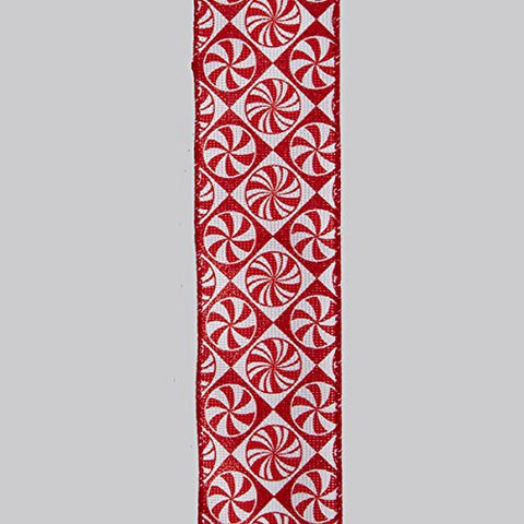 DOUBLE WIRE RED/WHITE PEPPERMINT WOVEN RIBBON
