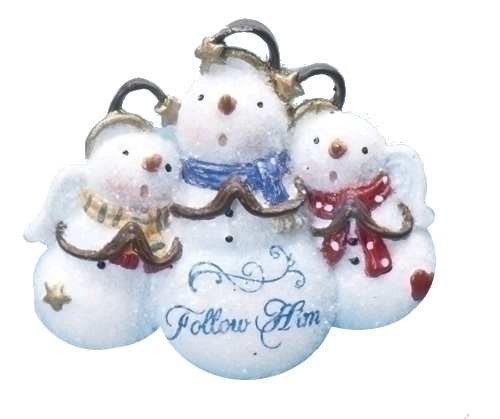 Follow Him Angel Snowmen Pin