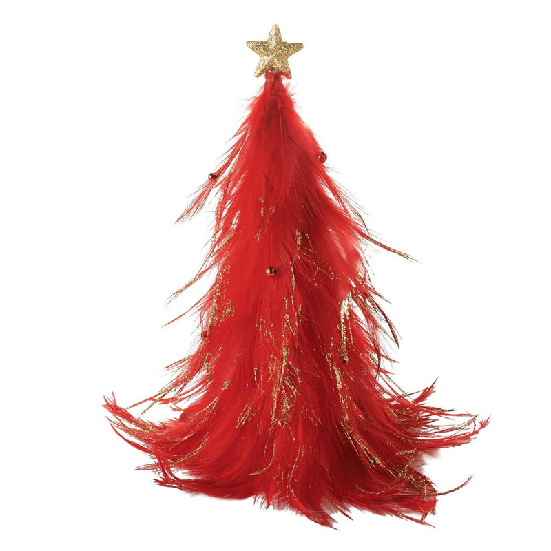 Christmas Basics Red Feather Tree, 9 Inch