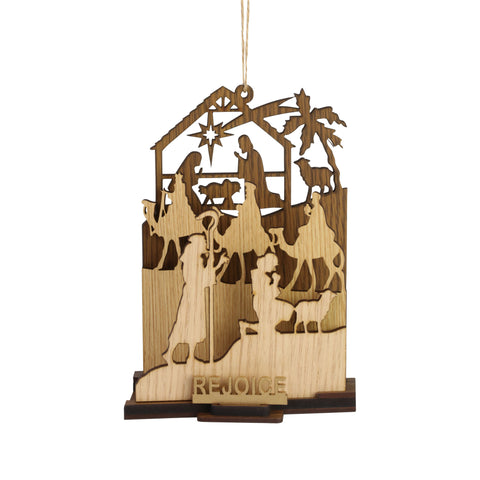 Rejoice Natural Wood Nativity Ornament