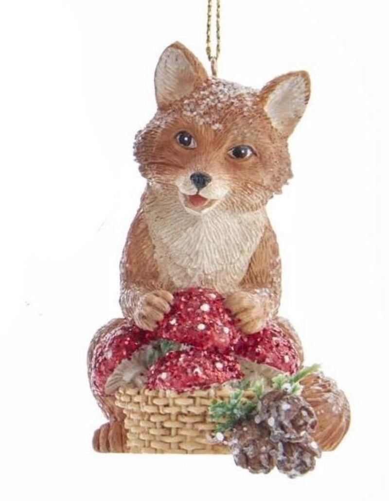 Woodland Animal with Mushrooms Ornament -  Fox