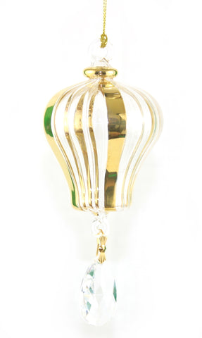 Blown Egyptian Glass Gold Hot Air Balloon
