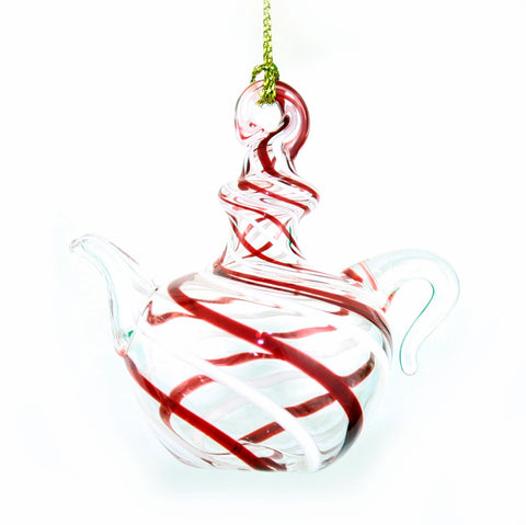 Peppermint stripe Egyptian Glass Teapot -