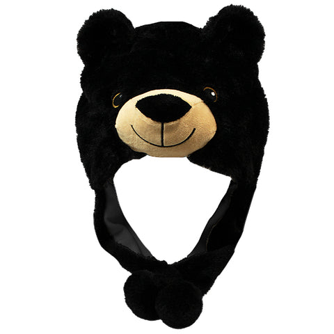 Black Bear Hat w/Pom-Poms, Adult