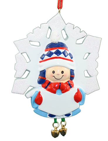 Resin Singing Snowflake Child Ornament -
