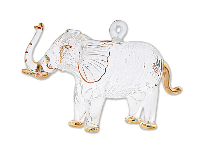 Egyptian Glass Clear Mini Elephant with Gold Accents