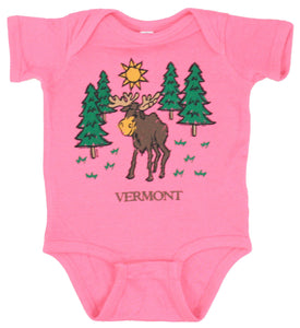 Vermont Camping Moose Romper - Raspberry -