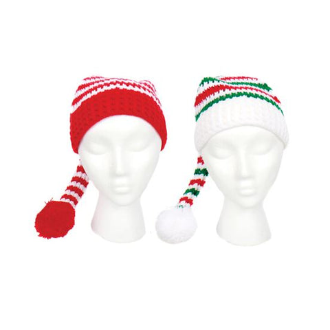 Pattern Knit Ski Hat Red Green White