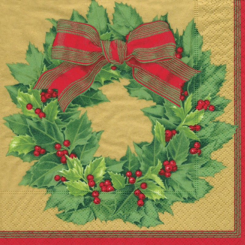 Holly Wreath Gold - Napkin Coc