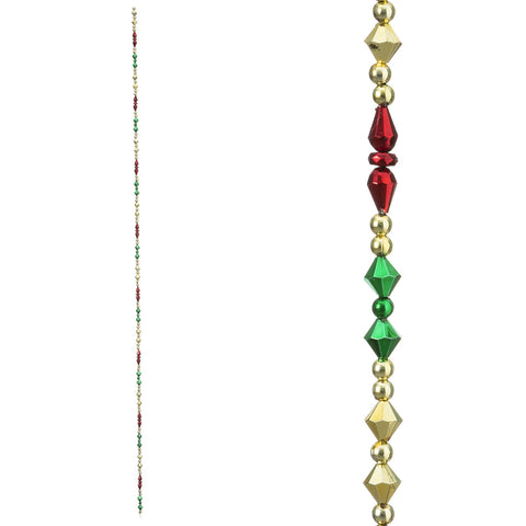Christmas Garland with Multicolor Beads: 3 feet