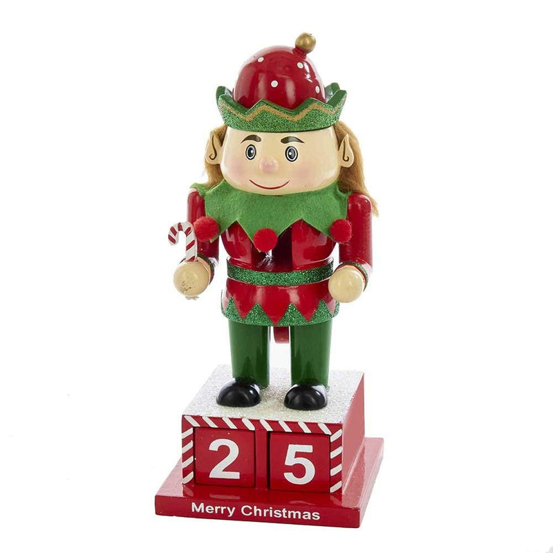 8 inch Wooden Elf Calendar Nutcracker