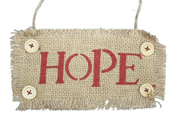 7 Inch Burlap Word Ornament -