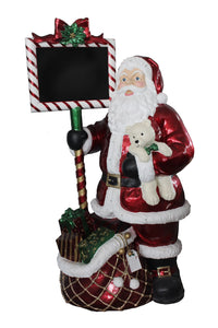 Resin LED Santa with Chalkboard - 58 Inches Tall