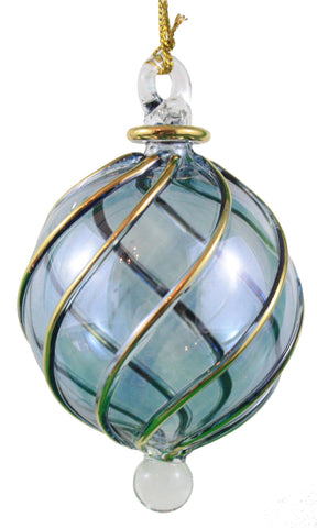 Spiral Crystal Ball with Gold Accent Ornament -