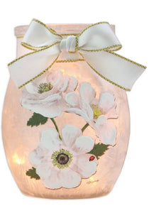White Rose Lit Small Jar with Ribbon -