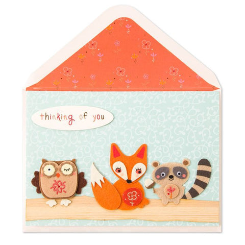 Thinking of You Woodland Animals Thanksgiving Card