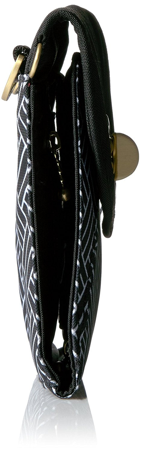 Athens RFID Crossbody - Black Basket Weave