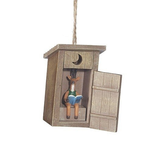 Outhouse with Deer Inside Ornament