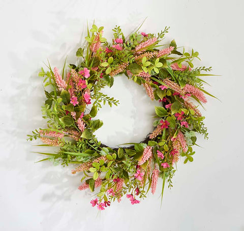 22 Inch Pink Heather and Green Leaves Wreath