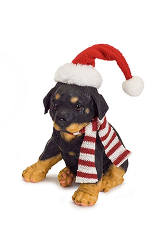 Resin Puppy wearing a Scarf and Hat -