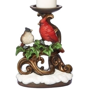 Holly with Cardinal Votive Candle Holder Gold Scroll