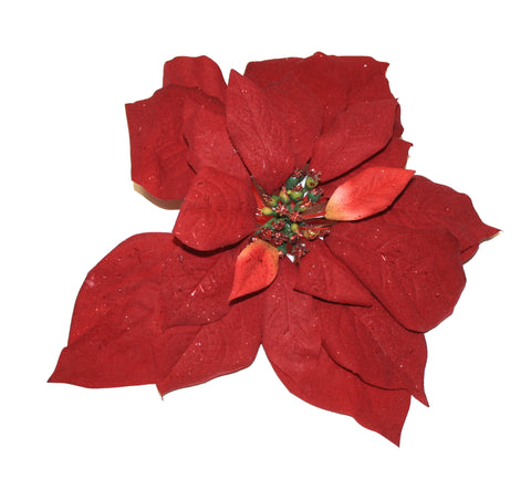 "8"" Red Artificial Poinsettia Clip On Ornament"