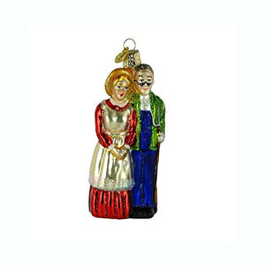 Farm Couple Glass Ornament