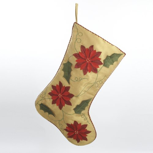 20 inch Gold Stocking W/Poinsettia