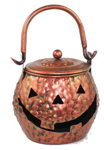 Copper Look Metal Jack-O-Lantern Cauldron -