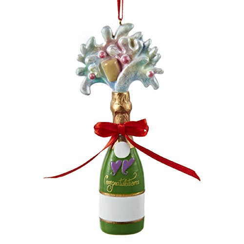 Resin Champagne Ornament - 4.75""