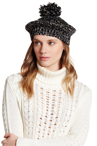 Sequin Boucle Metallic Beret with Pom Pom