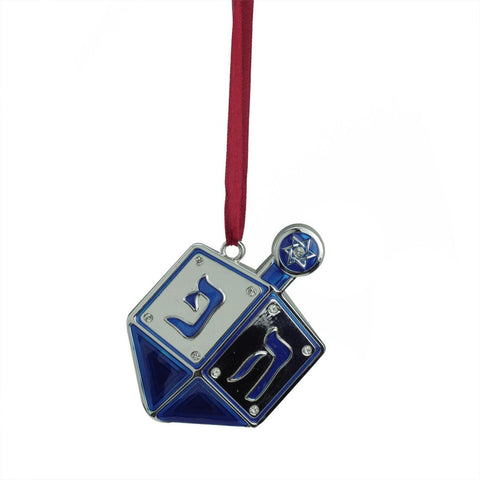 Regal Shiny Silver-Plated Blue Dreidel Hanukkah Ornament with European Crystals