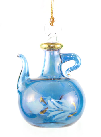 Clear Etched Teapot with Gold Accents  -