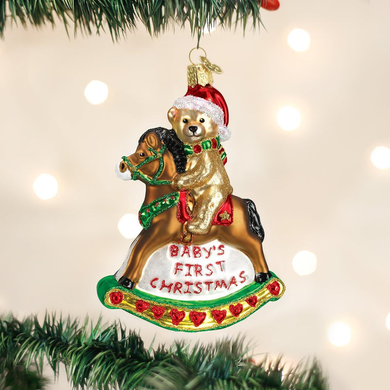 Old World Christmas Rocking Horse Teddy Glass Ornament