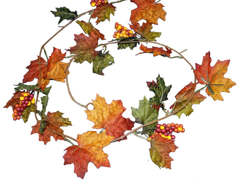 5 Foot Maple Leaves With Berries Garland