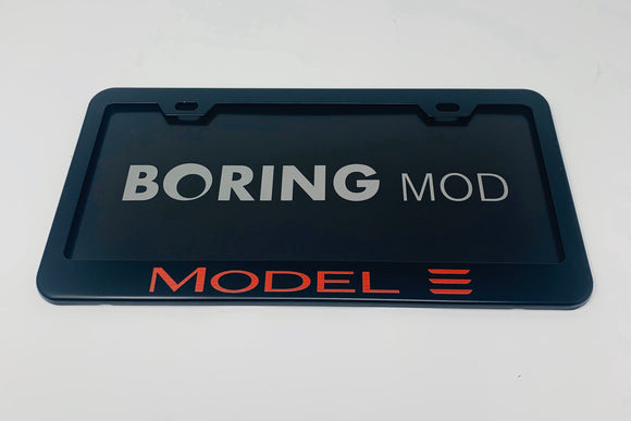 Tesla REDMODEL 3 /// Black License Plate Frame, Laser Engraved, Metal, No Stickers, BORINGmod, Best Gift, Free Returns